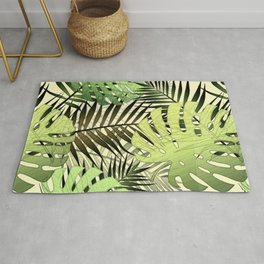 Palm leaves tropical pattern Rug