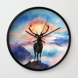 Deer on the top of the World - Watercolor Painting Art Wall Clock