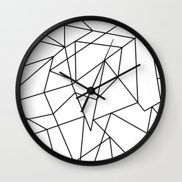 Simple Modern Black and White Geometric Pattern Wall Clock