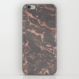 Modern Grey cement concrete on rose gold marble iPhone Skin