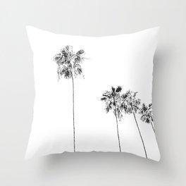 Minimal Black and White Palm Trees Throw Pillow