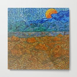 Vincent van Gogh, Landscape with wheat sheaves and rising moon, Provence Alpes Côte d'Azur, France landscape painting  Metal Print