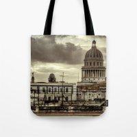 cuba Tote Bags featuring CUBA - CAPITOLIO by mayavisual