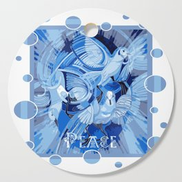 Dove With Celtic Peace Text In Blue Tones Cutting Board