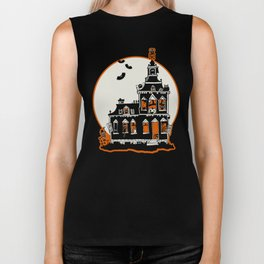 Vintage Style Haunted House - Happy Halloween Biker Tank