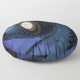 Abandoned blue spiral staircase Floor Pillow