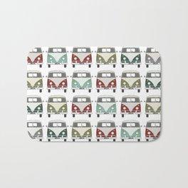 happy camper – A colourful montage pattern of vintage camper vans Bath Mat