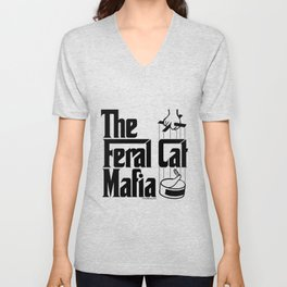 The Feral Cat Mafia (BLACK printing on light background) Unisex V-Neck