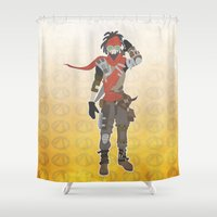 borderlands Shower Curtains featuring Borderlands 2 - Mordecai by LightningJinx
