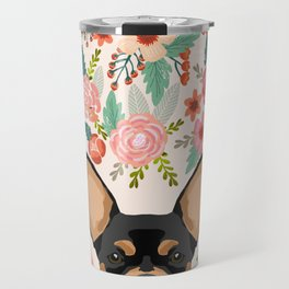 Chihuahua dog floral pet pure breed gifts for chihuahua black and tan Travel Mug