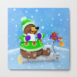 Bear Caroling Metal Print