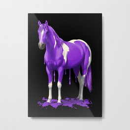 Purple Dripping Wet Paint Horse Metal Print