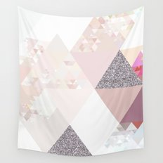Triangles in glittering Rose quartz - pink glitter triangle pattern Wall Tapestry