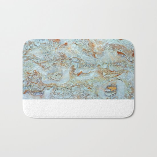 Marble in shades of blue and gold Bath Mat