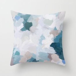 Turquoise Navy Blue Blush Pink Gray White Abstract Painting, Modern Wall Art, Digital Print Throw Pillow