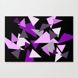 Purple Triangels on black background Canvas Print