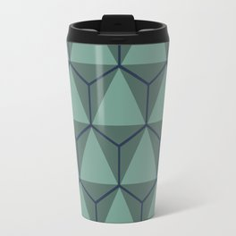 Blue and Green, Triangle and Hexagon Pattern Travel Mug