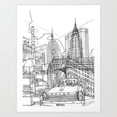 New York! B&W Art Print
