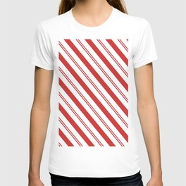 Red and White Candy Cane Stripes, Thick and Thin Angled Lines, Festive Christmas T-shirt