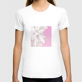 High palms in pink T-shirt
