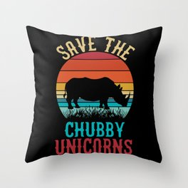 Save the chubby unicorns funny rhino sunset quote Throw Pillow