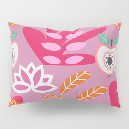 Apples and plants in shades of pink Pillow Sham