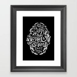 Work Hard & Render Fast Floral Framed Art Print