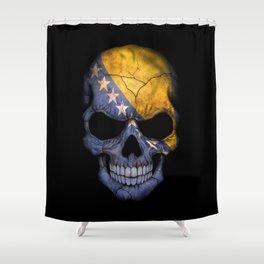 Dark Skull with Flag of Bosnia and Herzegovina Shower Curtain