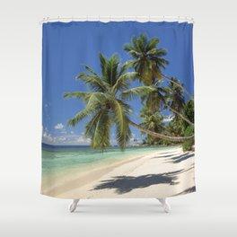 Palm beach, the Seychelles, La Digue island, Shower Curtain