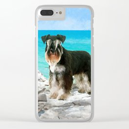 Miniature Schnauzer on the beach Watercolor Clear iPhone Case