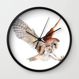 Barn Owl Watercolor Flying Bird of Prey Wall Clock