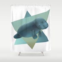 manatee Shower Curtains featuring Manatee #2 by Jamie Bechtel