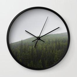 Foggy Pine Forest | Alberta | Canada Landscape Wall Clock