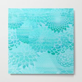 Aqua Blue Floral Flower pattern- Turquoise Abstract Flowers on #Society6 Metal Print