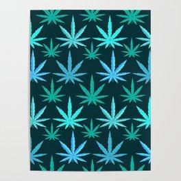 Marijuana Teal Weed Poster