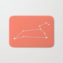 Leo Zodiac Constellation - Coral Red Bath Mat