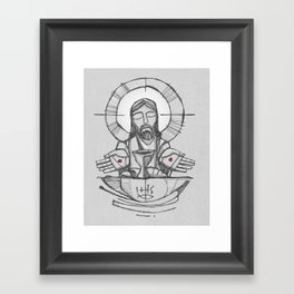Jesus Christ Eucharist illustration Framed Art Print