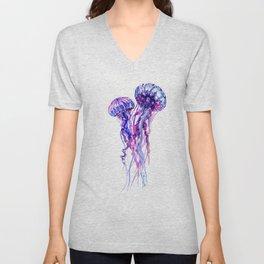 Jellyfish, purple blue sea world design elegant Unisex V-Neck