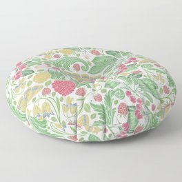 English garden berries flowers & butterflies Floor Pillow