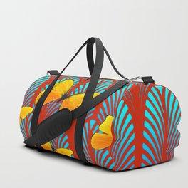 YELLOW ART DECO BUTTERFLIES & CUMIN COLOR ART Duffle Bag