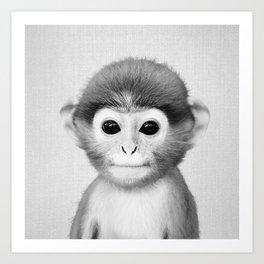 Baby Monkey - Black & White Art Print
