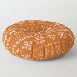 Scandinavian Christmas in Orange Floor Pillow