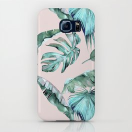 Tropical Palm Leaves Turquoise Green Coral Pink iPhone Case