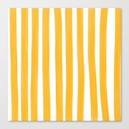 Sunny Yellow Paint Stripes Canvas Print