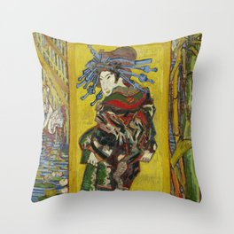 1887-Vincent van Gogh-Courtesan, after Eisen-60 x 105 Throw Pillow