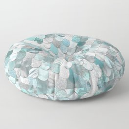 Mermaid Aqua and Grey Floor Pillow