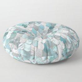 Mermaid Aqua and Grey Floor Pillow