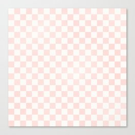 Pink Coral Checkers Canvas Print