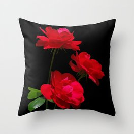 Red roses on black background Throw Pillow