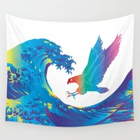 hokusai Wall Tapestries featuring Hokusai Rainbow & Eagle by FACTORIE